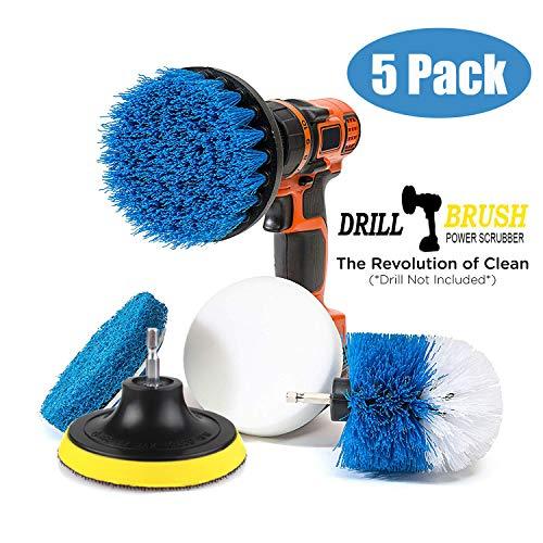 Swonuk 5pcs Bohrmaschine Bürstenaufsatz, 2 Stück Drill Brush + 2 Stück Scheuerschwamm Reinigung Kit Power Scrubbing Auto Bürste für Auto, Teppich, Badezimmer, Holzboden, Waschküche,Küche - Teppich-pad