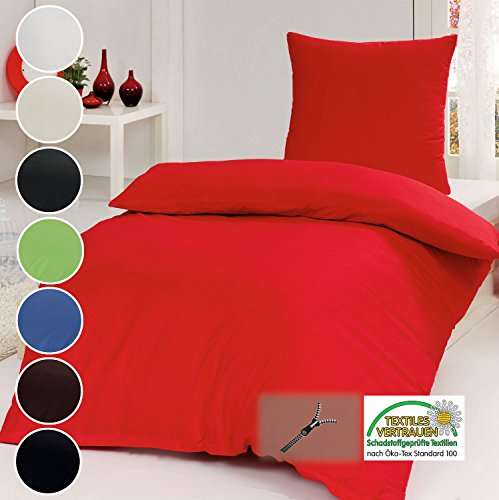 Juego de cama de algodón de 2piezas (monocromático, con cremallera, 135 x 200cm, 80x 80 cm), 100% algodón, rojo, 135 x 200 cm - 80 x 80 cm