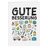 Große Grußkarte XXL (A4) Gute Besserung/Viele passende Symbole/mit Umschlag/Edle Design Klappkarte/Krank/Gesundheit/im Krankenhaus/Extra Groß/Edle Maxi Genesungskarte