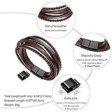 Murtoo Edelstahl Echtleder Armband schwarz|braun geflochten mit Magnet Verschluss(22cm) (BraunB) - 2
