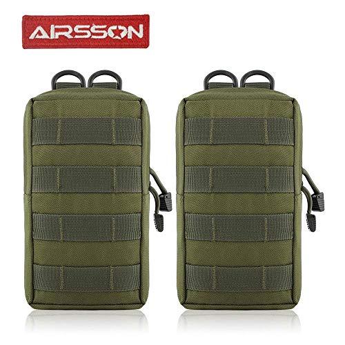 Airsson 2-Stück Molle Taschen Tactical Beutel Pouches Satteltaschen Wanderausrüstung (Kleine Taschen)
