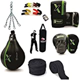 "XpeeD Boxing Strong Heavy Punching Training Practice Full Kit Set (3 Feet ""36 Inches"" Long Unfilled Bag+White Silicon Mouth Guard +Punching Bag Chain+Curved Punch Mitts Pair+Handwrap Pair +Speed Ball/Bag +Bag Gloves Pair)"