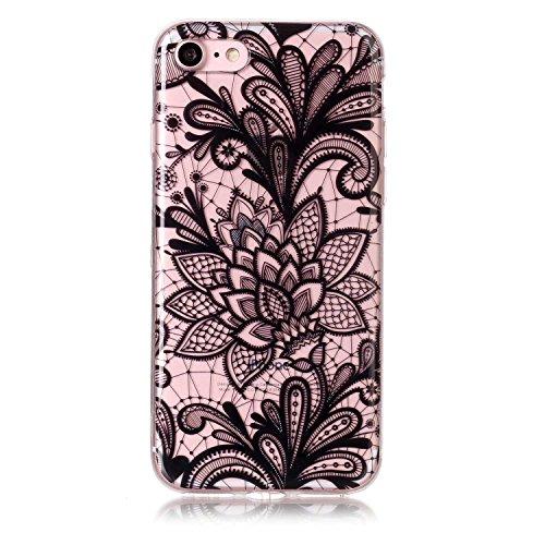 iPhone 7 Hülle, Voguecase Silikon Schutzhülle / Case / Cover / Hülle / TPU Gel Skin für Apple iPhone 7/iPhone 8 4.7(Lace Blume/Schwarz) + Gratis Universal Eingabestift Lace Blume/Schwarz
