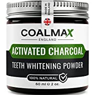 Activated Charcoal Teeth Whitening Powder – 100% Natural, Vegan Charcoal Teeth Whitening Toothpaste & Teeth Whitener Kit (Made in UK)