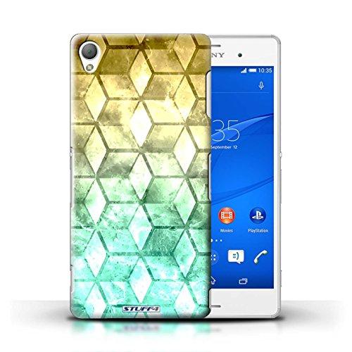 Kobalt® Imprimé Etui / Coque pour Sony Xperia Z3 / Violet / Orange conception / Série Cubes colorés Jaun/Vert
