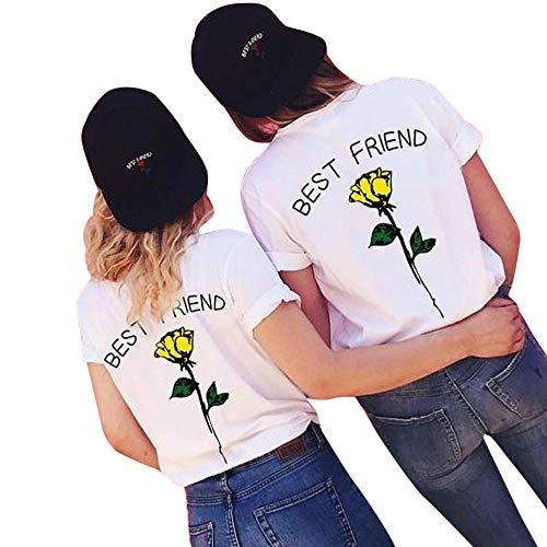 Lazzboy Donna Plus Size Maglietta Flower Print Best Friend Maglietta a Maniche Corte Taglie Forti Taglia 40-50 Camicetta Oversize(4XL(48),Giallo)