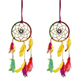 ILU Combo of 2 Dreamcatcher Wall Hanging Handmade Beaded Decoration Ornament Size 8 CM Diameter