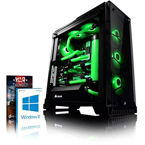 VIBOX Venom GL780T-14 PC Gamer - 4,5GHz Intel i7 Quad Core CPU, 2x GTX 1080 Ti, VR prêt, Ordinateur PC de Bureau Gaming avec Watercooling paquet de jeux, unité centrale, Windows 10 (4,2GHz (4,5GHz Turbo) Processeur CPU Quad 4-Core Intel i7 7700K Kabylake Ultra Rapide, 2x Dual SLI Carte Graphique Haute Performance Nvidia GeForce GTX 1080 Ti 11 Go, 32 Go Mémoire RAM DDR4 3000MHz, SSD 480 Go, Disque Dur 4 To, Watercooling personnalisé, PSU 600W 85+, Boîtier Corsair 570X)
