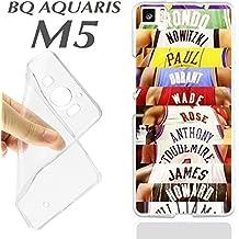 CARCASA+ PROTECTOR DE CRISTAL (OPCIONAL) BQ AQUARIS M5 ESTRELLAS NBA BALONCESTO DEPORTE J429 - SOLO CARCASA