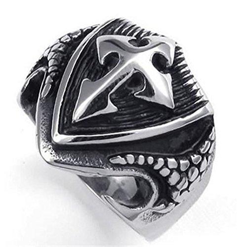 Blisfille Ringe Männer Herr Der Ringe Ring Herren Silber Herren Punk Silber Schild Mit Kreuz Pfeil Ring Größe 60 (19.1) Retro Bandringring Hip Hop