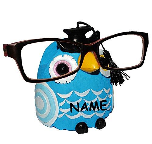 """Brillenhalter - """" verschiedene Eulen """" incl. Namen - stabil aus Kunstharz - Größe universal - für Kinder & Erwachsene / Brillenhalterung - lustiger Brillenständer - für Sonnenbrille Lesebrille - Brillenablage / Eule Vögel lustige Schule Prüfung"""