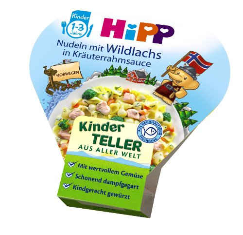 Hipp Kinder Teller Nudeln mit Wildlachs in Kraeuterrahmsauce, 6er Pack (6 x 250g)