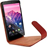 iGadgitz Premium Executive Flip Red Leather Case Cover for LG Google Nexus 5 With Sleep Wake + Magnetic Closure + Screen Protector
