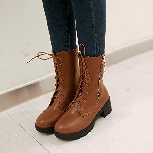 &ZHOU Bottes d'automne et d'hiver Bottes courtes pour femmes adultes Martin bottes bottes Chevalier A4-8 Yellow