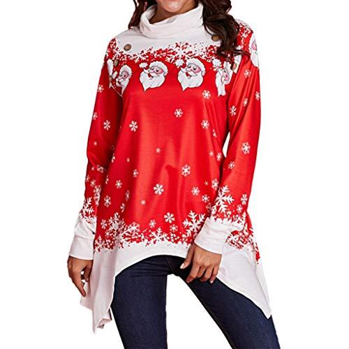 SEWORLD Frohe Weihnachten Weihnachtsmann Kapuzenpulli Damen Langarm Warmer Schneeflocke Gedruckt Tops Wasserfallausschnitt Sweatshirt ()