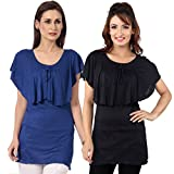 TeeMoods Womens Pack of Two Ruffled Neck...
