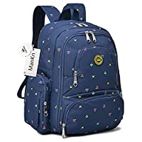 Baby Nappy Backpacks, ManKn Baby Diaper Bag, 16 Pockets Outdoor Bag Organizer For Parent, Water Resistant Nylon Fabric Travel Backpack with Changing Pad and Stroller Straps, QiMiaoBaby Series (Blue Flower)