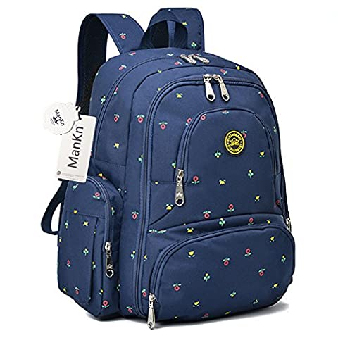 Baby Nappy Backpacks, ManKn Baby Diaper Bag, 16 Pockets Outdoor Bag Organizer For Parent, Water Resistant Nylon Fabric Travel Backpack with Changing Pad and Stroller Straps, QiMiaoBaby Series (Blue