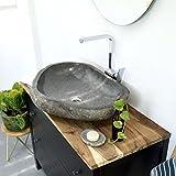 wohnfreuden Naturstein Waschbecken 70 cm  einzeln fotografiert + Auswahl Steinwaschbecken aus Bildergalerie  Stein Waschschale  Aufsatzwaschbecken aus Stein für Badezimmer
