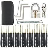 Lockpicking Set, LOMATEE Profi 24-teiliges Dietriche Set, Pick Set, Schloss knacken - 24 Dirtriche + Transparente Übungs-Vorhängeschlösser + 2 Schlüsseln