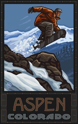 Northwest Art Mall Aspen Colorado Snowboard Jumping SBJ Wanddekoration von Paul A. Lanquist, 28 x 43 cm