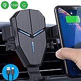 Qi Cargador Inalámbrico Coche,Avolare Carga Rápida Qi Cargador Coche Soporte Móvil Automático 10W para Galaxy S9/S9+/S8/S8+,7.5W para iPhone XS/XS Max/XR/X/8/8 Plus,5W con Cable USB Tipo C 0,8m Negro
