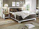 moebel-eins NOAH Boxspringbett Hotelbett Bett Amerikanisches Bett 7-Zonen-Tonnen-Taschenfederkernmatratze 180 x 200 cm Härtegrad 3 Pinie weiß/Braun