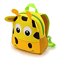 IGNPION Nursery Kids Backpacks Toddle Children School Bag Zoo Lunch Bag 3D Cute Animal Cartoon Preschool Rucksack (Giraffe(Small))