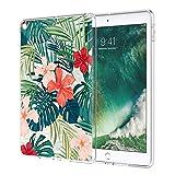 ZhuoFan Coque iPad 9.7 2018 Housse de Protection Étui Fin en Silicone Transparente avec Motif Antichoc Flexible TPU Smart Cover Shell Case pour Nouvel Tablette Apple iPad9.7 Pouces, Feuilles de fleurs
