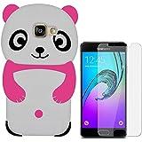 Hcheg Case Cover 3D en silicone pour Samsung Galaxy A3 (2016) Panda Design rouge / Blanc Case Cover + 1X Nano-proof film de protection écran