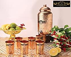 Crockery Wala and Company Premium Quality 6 Ltr Copper Water Dispenser with Copper Knob And Six Copper Hammered Glasses by Crockery wala and Company, 99.5% Pure Copper matka for kitchen enhances health