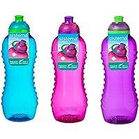 3 Sistema 460ml Twist n Sip Drink Bottles, Blue, Pink, Purple