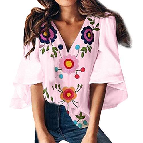 T Shirt Manche CourteFemmes,ITISME Chemise Manche Courte Femme Couleur Unie Col V Impression Chat Couture Hauts Manchon de Cloche Molletonné Top Sweatshirt Blouse T Shirt Tee (XL, A1-Rose)