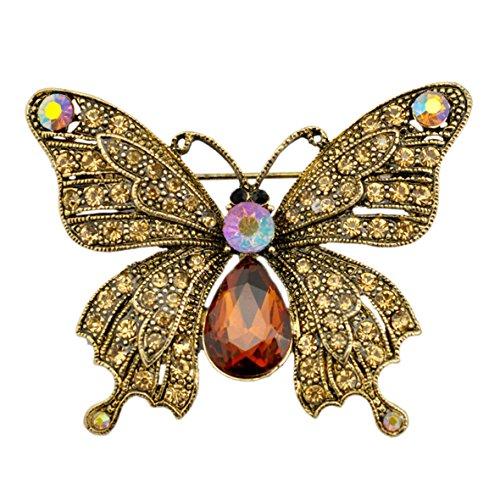SELOVO Vintage Style Antik Gold-Ton Schmetterling Tier Brosche und Anstecknadel Braun österreichische Kristall (Tier Broschen Modeschmuck)