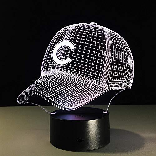 Preisvergleich Produktbild Zcmzcm 3D Nachtlichter 3D Hip Hop Baseball Team Kappe Led 3D Illusion Nachtlicht 7 Farben Usb American Baseball Hat Hologramm Visuelle Lampe