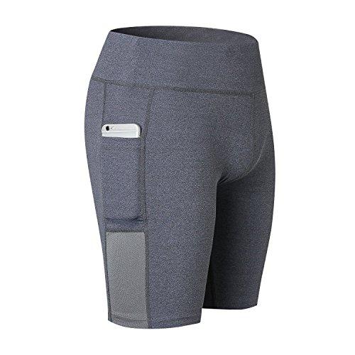 SEEU Women High Waist Yoga Running Shorts with Phone Pockets Tummy Control