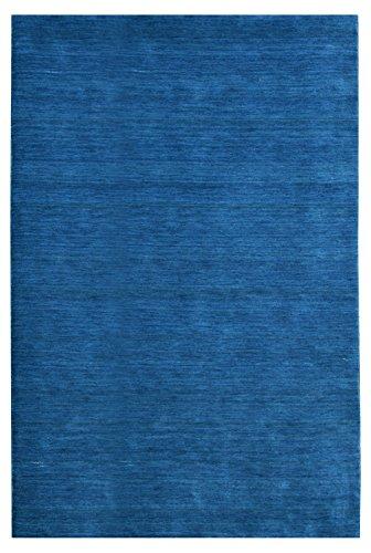 Morgenland Gabbeh Loribaft Teppich Blau Einfarbig Uni Schurwolle Handgewebt 300 x 200 cm -