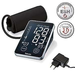 Beurer BM 58 Misuratore di Pressione da Braccio con Display XL Nero Retroilluminato, Pulsanti Sensor Touch e Connessione USB