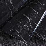 GEZICHTA granito marmo effetto carta da parati, Anite look Decor Wallpaper adesivo da parete autoadesivi peel-stick Counter top, stile sfondo TV (4, nero)