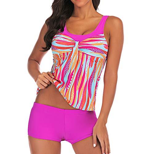 kolila Boho Bikini Badeanzug Ethnischen Stil Damen Badeanzug Tankini Badebekleidung Mit Badeanzug Bottoms(Hot Pink,2XL) Pink Collection-pyjama Set