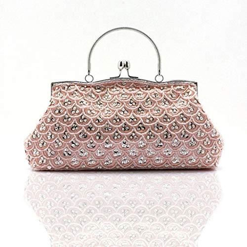 Elegante Pailletten Design Perlen bestickte Tasche Handtaschen Dinner Bag Perlen Clutch Bag Retro National Wind Damen Tasche Braut Handtasche (Color : Pink, Size : 21x28x5cm)