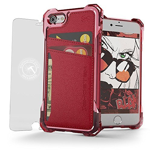 iPhone 7 Wallet Fall, ghostek Exec Serie für Apple iPhone 8 Slim Armor Hybrid Impact Bumper Schutz | TPU PU Leder Kreditkarte Slot Halter Sleeve Cover | Bruchsichere Displayschutzfolie, Rot (Charakter-id Halter)