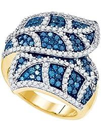 Pour femme Or jaune 10carats de diamants ronds couleur bleue Feuille Fleur à rayures Bague cocktail 2.00carat au total = 2carat au total (I2-I3Clarté; couleur: bleu)