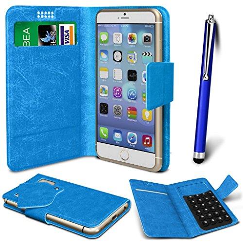 N4U Online® - ZTE Tania PU-Leder Saugnapf Mappen-Kasten-Abdeckung & High Sensitive Stylus Pen - Blau
