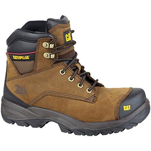 Caterpillar Mens Spiro Leather Work Safety Boots Brown