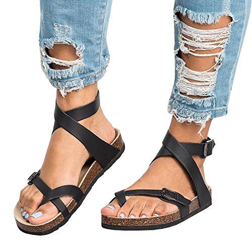 Minetom Sandalias Mujeres Verano Moda Bohemia Plano Peep-Toe Zapatos Casuales Zapatos De Playa Sandalias Romanas Sandalias Negro EU 38