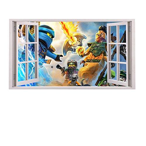 3D Fenster Kinder-Lieblings-Charaktere Wandtattoo, Vinyl, Motiv: Wandkunst, Customise4UTM (ninjago window)