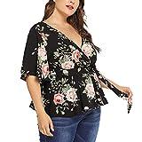 Oasics Das sexy T-Shirt mit tiefem V-Ausschnitt überzieht die bedruckten Bandagen der großen Größe der Frauen lose Oberteile XL-5XL
