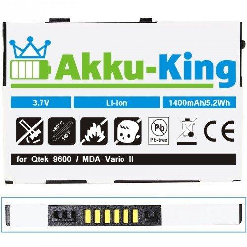 Akku-King Akku für Qtek 9600, MDA vario II, HTC TyTN, O2 XDA Trioer, Audiovox PPC6700 - ersetzt HTABB1, HERM160, BA S100, BTR6700B Li-Ion - 1400 mAh
