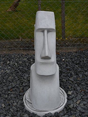 Große Moai Steinstatue Osterinsel Kopf Gesicht Dekorationselement aus Steinguss, frostfest